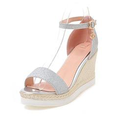 Femmes Pailletes scintillantes Talon compensé Sandales Compensée À bout ouvert avec Boucle chaussures