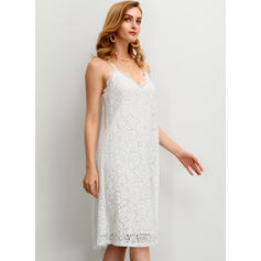 Lace/Solid Sleeveless Shift Knee Length Casual/Vacation Dresses