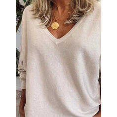 Solid V-Neck Long Sleeves Casual Basic Knit T-shirts