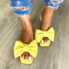 Women's PU Flat Heel Sandals Slippers With Bowknot shoes