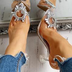 Femmes PVC Talon stiletto Escarpins Bout fermé avec Strass chaussures