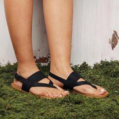 Femmes PU Talon plat Sandales Tongs avec Ouvertes chaussures