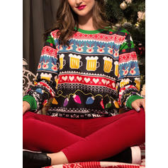 Women's Polyester Print Deer Christmas Sweatshirt