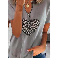 leopárd Szív V yaka Kısa kollu Günlük Blúzok