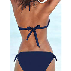 Solid Color Low Waist Knotted Halter Sexy Bikinis Swimsuits
