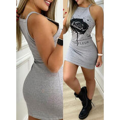 Print/Floral/Letter Sleeveless Bodycon Above Knee Casual Slip Dresses