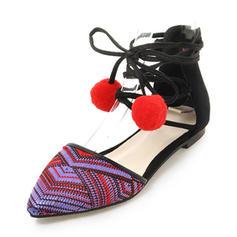 Frauen Veloursleder Flascher Absatz Sandalen Flache Schuhe mit Zuschnüren Schuhe