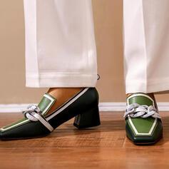 Mulheres PU Salto robusto Bombas com Cor da emenda sapatos