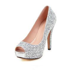 Femmes Pailletes scintillantes Talon stiletto Escarpins À bout ouvert avec Pailletes scintillantes chaussures