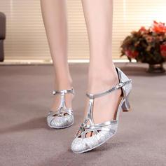 Mulheres Salão de Baile Saltos Bombas Espumante Glitter com Correia -T Salão de Baile