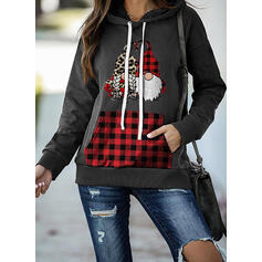 Print Grid Leopard Pockets Long Sleeves Christmas Sweatshirt