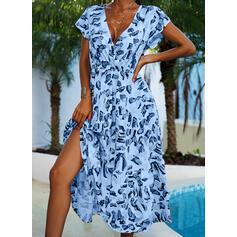 Print Cap Sleeve A-line Skater Casual/Vacation Midi Dresses