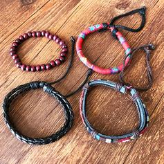 Elegante Elegante Punk Corda de couro Unisex Pulseiras Moda (4 peças)