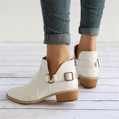 Women's PU Low Heel Boots With Buckle shoes