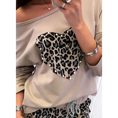 Leopard Beaded Heart Round Neck Long Sleeves Casual T-shirts