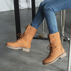 Women's PU Chunky Heel Boots Ankle Boots With Lace-up shoes