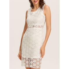 Lace/Solid Sleeveless Bodycon Knee Length Casual/Elegant Dresses