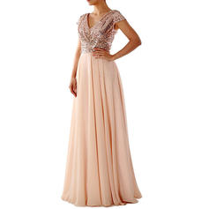 Sequins/Solid Cap Sleeve A-line Maxi Little Black/Party/Elegant Dresses