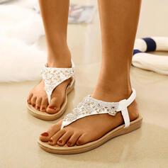Mulheres PU Sem salto Sandálias Peep toe com Strass sapatos