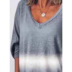 Tie Dye Cuello en V Mangas 3/4 Casual Camisetas