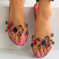 Dámské PVC Placatý podpatek Boty Bez Podpatku S Napodobenina drahokamu obuv