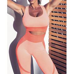 Low Cut Sleeveless Color Block Sporty Sets