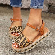 Femmes PU Talon plat Sandales À bout ouvert avec Boucle La copie Animale chaussures