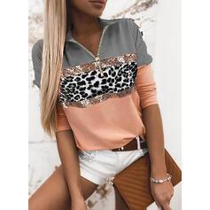 Bloque de color Lentejuelas Leopardo Solapa Manga Larga Casual Blusas