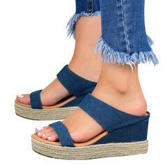 Femmes PU Talon compensé avec Ouvertes chaussures