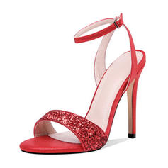 Women's Sparkling Glitter Microfiber Leather Stiletto Heel Sandals Pumps Peep Toe With Sequin Sparkling Glitter Buckle shoes