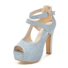 Femmes Pailletes scintillantes Talon bottier Sandales Escarpins Plateforme À bout ouvert avec Boucle chaussures