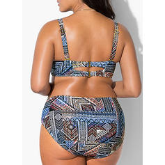 High Waist Print Strap V-neck Sexy Fashionable Fresh Attractive Plus Size Bikinis Swimsuits