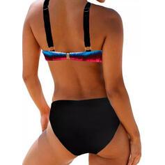 Print Splice color Strap Sexy Colorful Bikinis Swimsuits