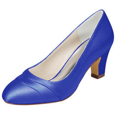 Women's Satin Chunky Heel Closed Toe With Others
