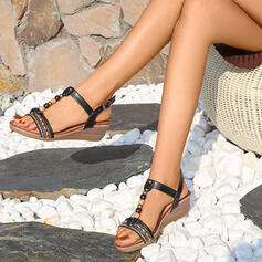 Women's PU Wedge Heel Sandals Wedges Peep Toe Heels With Buckle shoes
