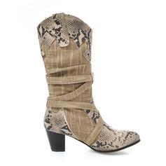 Femmes Tissu Talon bottier Bottes Bottes mi-mollets avec Boucle chaussures