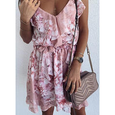 Print/Floral Sleeveless A-line Above Knee Casual/Vacation Slip/Skater Dresses