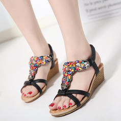 Women's PU Wedge Heel Sandals Wedges Peep Toe Slingbacks With Beading shoes