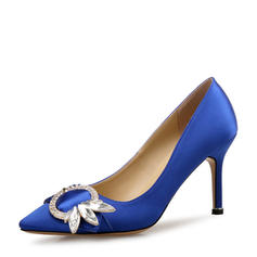 Women's Satin Stiletto Heel Pumps Closed Toe With Buckle shoes