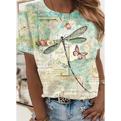 Floral Print Letter Animal Round Neck Short Sleeves T-shirts
