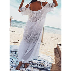 Lace Cold Shoulder Sleeve Shift Casual Maxi Dresses