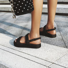Bayanlar Kumaş Düz topuk Sandalet Peep Toe ayakkabı
