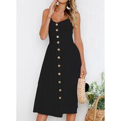 Solide Mouwloos A-lijn Zwart jurkje/Casual/Vakantie Medium Jurken