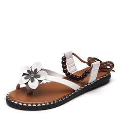 Women's Leatherette Flat Heel Sandals Flats Peep Toe Slingbacks With Beading Flower shoes