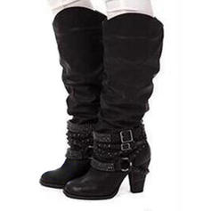 De mujer Cuero Tacón ancho Salón Botas con Volantes zapatos
