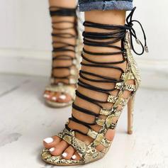 Mulheres PU Salto agulha Sandálias Peep toe com Animal da Cópia Aplicação de renda sapatos