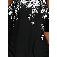 Blomstrete Trykk Kald skulder Kortermer T-skjorter