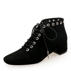 Women's Suede Chunky Heel Closed Toe Ankle Boots Martin Boots With Rivet Lace-up shoes