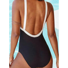 Solid Color Halter V-Neck Sexy Vintage Boho One-piece Swimsuits
