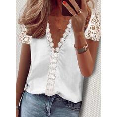 Jednolity Koronka Dekolt w kształcie litery V Krótkie rękawy Elegancki Bluzki